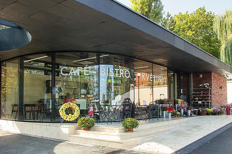 realizace květinářství s kavárnou Ústřední hřbitov Brno